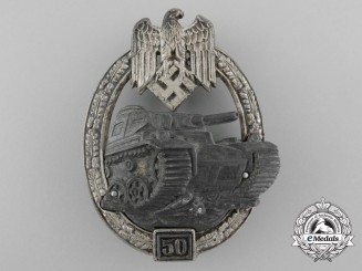 Germany. A Silver Grade Tank Badge; Special Grade 50, by C.E. Juncker