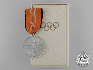 An Absolutely Mint 1936 Berlin Olympic Games Commemorative Medal in its Original Case of Issue