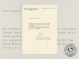 A Posthumous Iron Cross Award Document to the Wife of Waffen-SS Sturmbannführer