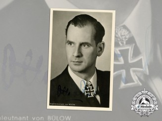 A Wartime Signed Picture Postcard of U-Boat Commander Otto von Bülow