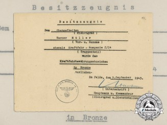 A 1943 Award Document for a Bronze Grade Driver Proficiency Badge