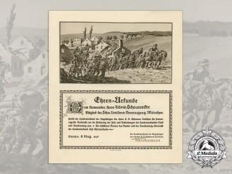 A 1925 Royal Bavarian Heavy Artillery Merit Certificate