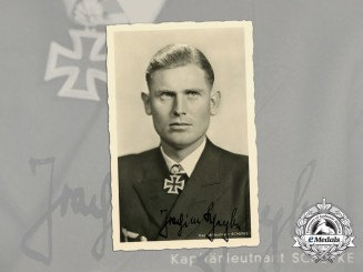 A Wartime Signed Picture Postcard of U-Boat Captain & KC Recipient Schepke