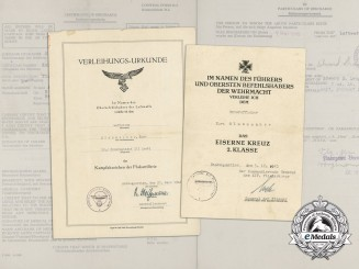 A Luftwaffe Award Document Group to Unteroffizier Glasmacher; Iron Cross & Flak Badge