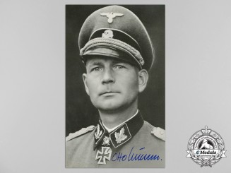 A Wartime Picture Postcard Signed by SS-Obersturmbannführer Otto Kumm