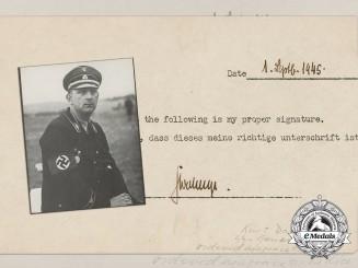 A Photo of SS-Oberstgruppenführer Kurt Daluege & Self-Signed Statement of Authenticity