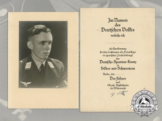 Germany, Luftwaffe. A 1939 Spanish Cross in Silver Award Document to Obergefreiter Heinz Gätsch