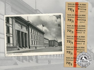 A Postcard & NSDAP Lunch Coupons for the New Reich Chancellery