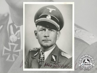 A Signed Depiction of Waffen-SS Knight's Cross Recipient Otto Kumm
