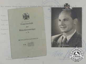 An Association of Knight's Cross of the Iron Cross Recipients Membership Document and Stick Pin; Numbered
