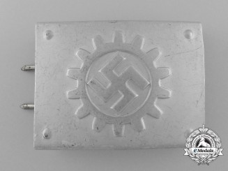 A Stosstrupp of the Werkschar of the Deutsche Arbeitsfront Enlisted Man's Belt Buckle by Paul Cramer & Co.