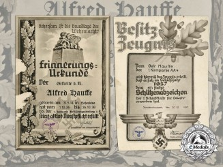 Two Large Award Documents to Alfred Hausse; Reconnaissance Detachment