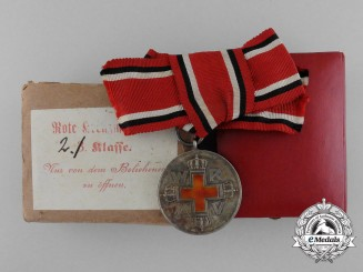 A Prussian Red Cross Medal; 2nd Class with Case & Carton