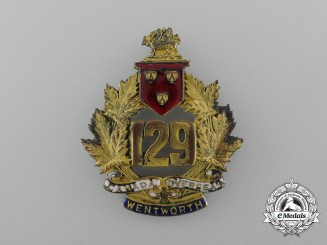 A First War 129th Infantry Battalion Officer's Cap Badge