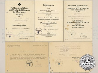 A Set of Panzer Award Documents Signed by von Bismarck