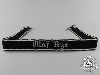 A Danish Schalburg Corps Company Cufftitle; Olaf Rye