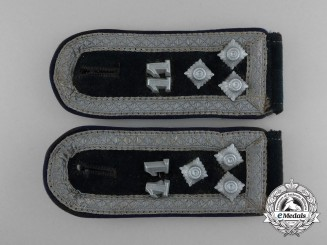A Matching Pair of Wehrmacht 11th Division Medic Warrant Officer's Shoulder Boards