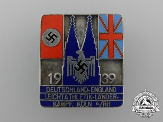 A 1939 Cologne Germany-England Athletic Competition Participation Badge