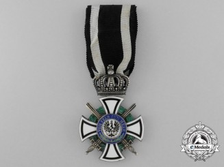 A Prussian House Order of Hohenzollern with Swords; Knight's Cross by Friedlander, Berlin