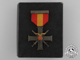 Norway. A Merit Cross with Swords and Case of Issue, 1940-45