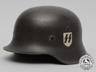 An Outstanding M42 Waffen-SS Combat Helmet with Single C.A. Pocher Reverse Decal
