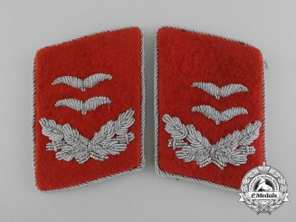 A Set of Luftwaffe Flak Oberlieutenant Collar Tabs; Tunic Removed