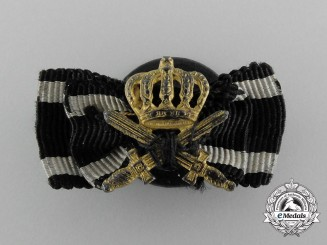 A Prussian Order of the Crown with Swords Buttonhole Miniature