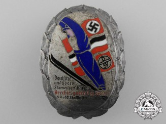 "A Very Fine Quality 1934 ""Civilian and Military (SA & SS) Ski Championship"" Badge by C. Poellath"