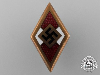 A Golden HJ Youth Member's Honour Badge by Adolf Baumeister