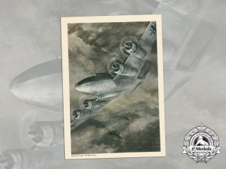 A Print Depicting a Luftwaffe Focke-Wulf 200 Condor Bomber in Action