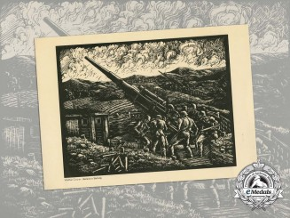 A Period Print of a Painting Depicting an Anti-Aircraft Battery of the Notorious 8.8cm Flak
