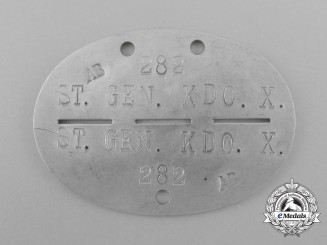 A Second War German 282 Stabs Generalkommando X Identification Tag