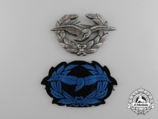 Two Austrian Bundesheer Armed Forces Air Force Cap Badges