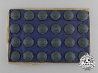 Twenty-Four Der Stahlhelm Veteran's Association Buttons on a Salesmen's Board