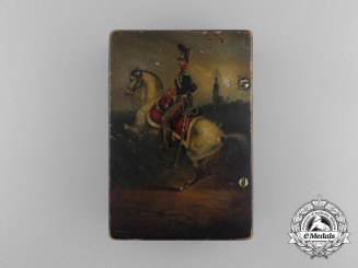 A Napoleonic Period Hand Painted Wooden Box Depicting a Prussian Cavalry Rider