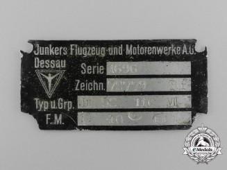 A Junkers Dessau Flugzeug und Motorenwerke A.G Airplane Data Plate
