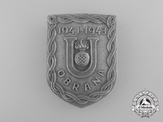 A Second War Croatian Ustaša Defense Badge