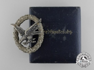 A Cased Luftwaffe Radio Operator & Air Gunner Badge by C.E.Juncker