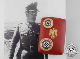 """A Set of A.H. Presentation NSDAP Golden Party Badges to Feldmarschall """"Bloody Ferdinand"""" Schörner"""