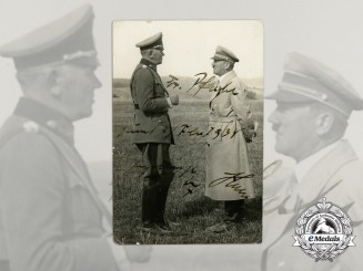 A Rare 1934 AH Signed and Dedicated Photograph of Blomberg & AH