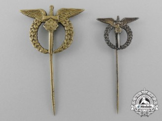 Two Miniature Czechoslovakian Second War Pilot Badge