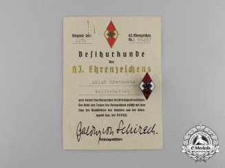 A HJ Honour Badge with a numbered Award Document presented to Erich Brennecke by Fritz Zimmermann