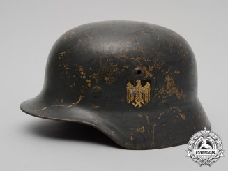 An M35 Single Decal Ex-Tropical Wehrmacht Heer (Army) Stahlhelm by Firma F.W. Quist