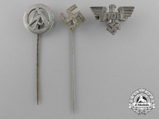 A Lot of Three Second War German Stick Pins and Badges