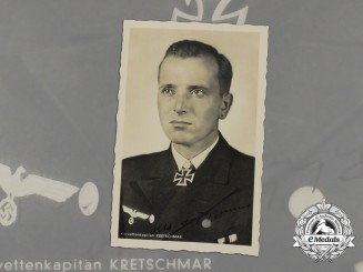 A Wartime Signed Picture Postcard of Otto Kretschmar