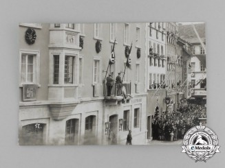 "An Unpublished Picture Postcard of A.H. Addressing the Crowd at the newly built ""Elephant House"""
