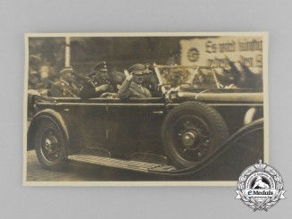 An Unpublished Picture Postcard of A.H. and High Ranking Officials in a Mercedes 770