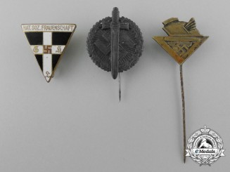 A Lot of Three Third Reich Period German Stick Pins and Badges