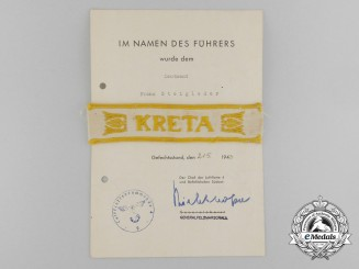 An Uniform Removed Kreta Campaign Cuff Title with Award Document
