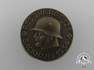 Germany, Heer. A 1934 Backnang Reserve Infantry Regiment 121 Badge